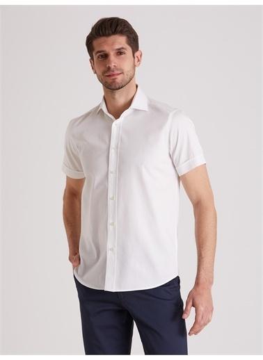 Dufy Düz Erkek Gömlek - Regular Fit Beyaz